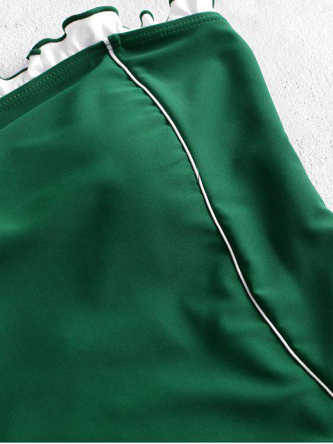 ZAFUL撞色荷葉邊抹胸式連體泳衣 - 中等海綠色 L Mobile