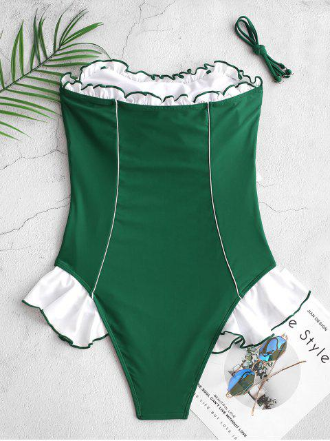 online ZAFUL Contrast Ruffle Piping Bandeau One-piece Swimsuit - MEDIUM SEA GREEN XL Mobile