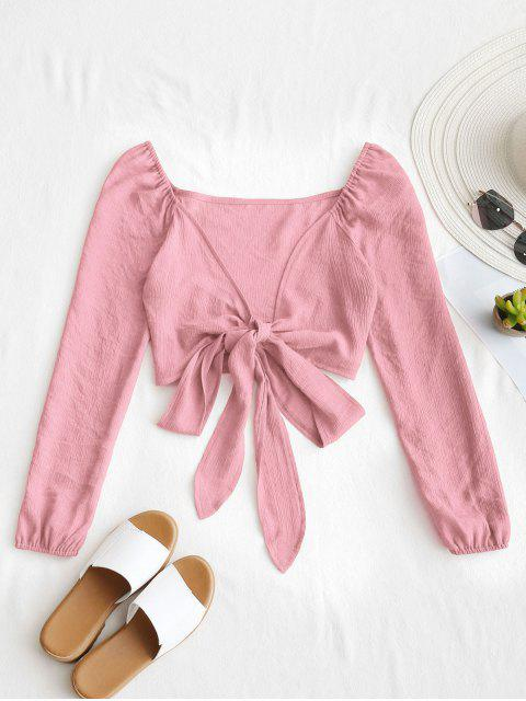 women's Plunging Neck Tied Bowknot Crop Blouse - KHAKI ROSE S Mobile