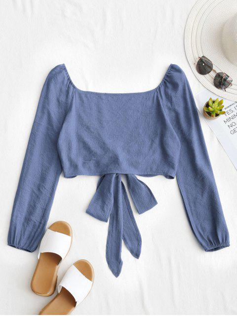 shops Plunging Neck Tied Bowknot Crop Blouse - SLATE BLUE M Mobile