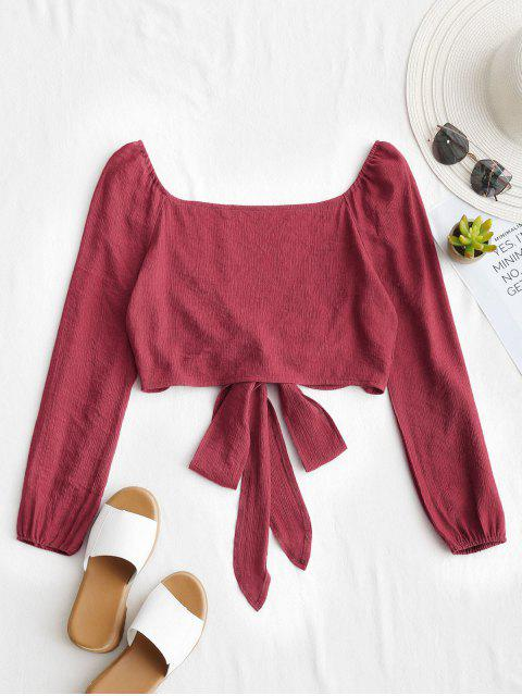 online Plunging Neck Tied Bowknot Crop Blouse - RED WINE M Mobile