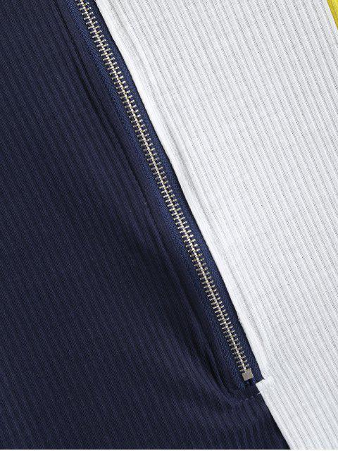 T-Shirt Côtelé Zippé en Blocs de Couleurs à Col Haut - Bleu S Mobile