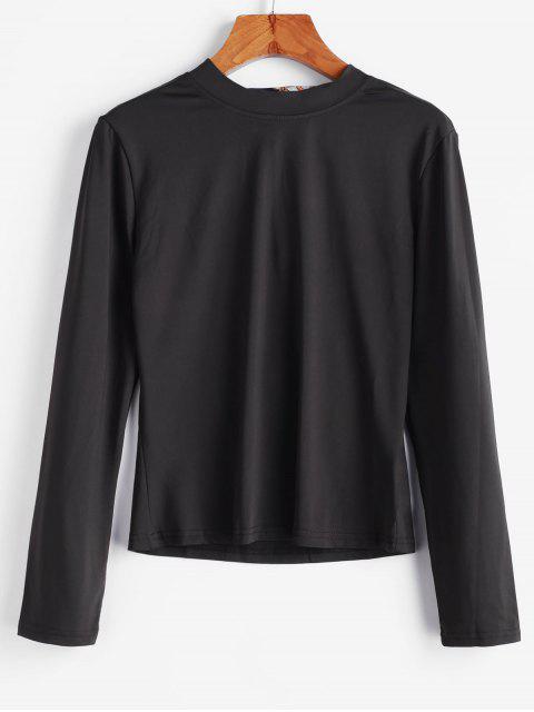 T-Shirt Découpé Noué Echarpe Imprimée - Noir M Mobile