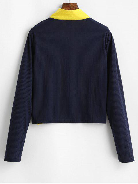 outfit Pull Ring Zip Colorblock Ribbed High Neck Tee - BLUE L Mobile