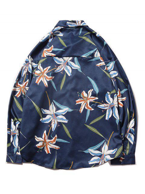 Planta de la flor de bolsillo en el pecho Imprimir curvo dobladillo de las camisas - Azul Profundo XL Mobile