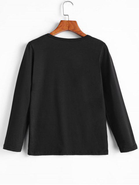 trendy Long Sleeve Graphic Basic Slim Tee - BLACK S Mobile