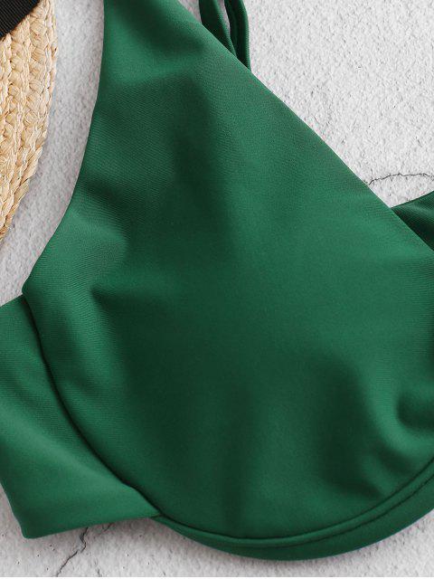 ZAFUL Biquíni com Corte Alto e Estampa de Plantas - Verde Médio do Mar L Mobile
