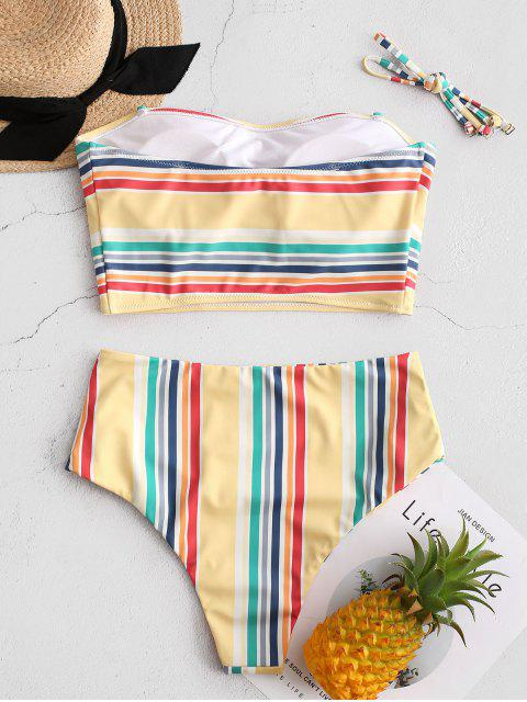ZAFUL rayado colorido de la palabra de honor con pliegues de Tankini del traje de baño - Multicolor-A 2XL Mobile