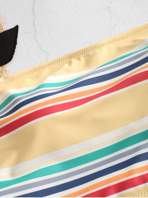 ZAFUL rayado colorido de la palabra de honor con pliegues de Tankini del traje de baño - Multicolor-A M Mobile