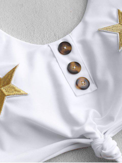ZAFUL estrella Patch botón Mock High Cut Tankini del traje de baño - Mostaza S Mobile