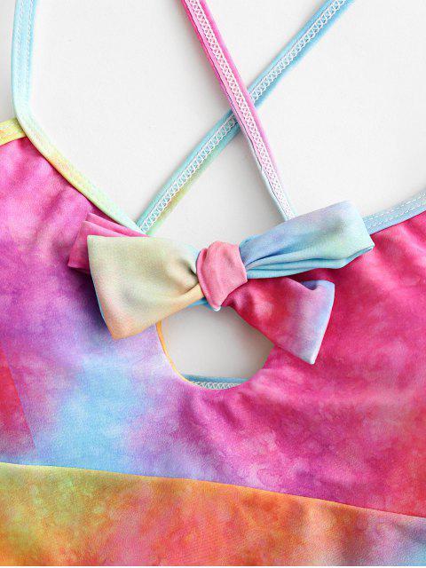 Tankini del traje de baño ZAFUL del tinte del lazo del cordón del Bowknot - Multicolor-A XL Mobile