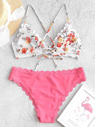 ZAFUL Floral Lace-up Scalloped Bikini Swimsuit, Pink