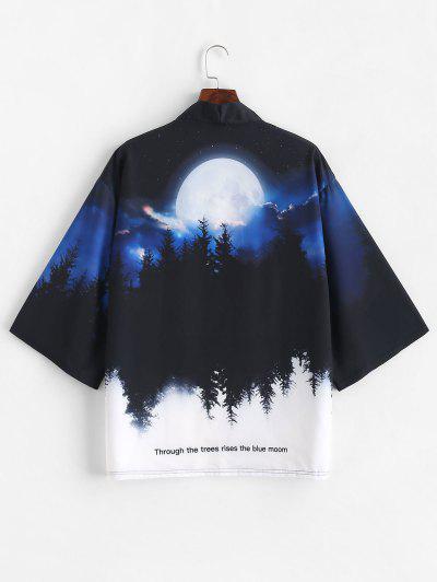 Rising Moon Through Tree Forest Print Open Front Kimono Cardigan - Cobalt Blue 2xl