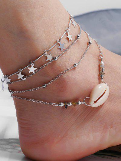 3Pcs Star Shell Layers Charm Anklet Set - Silver