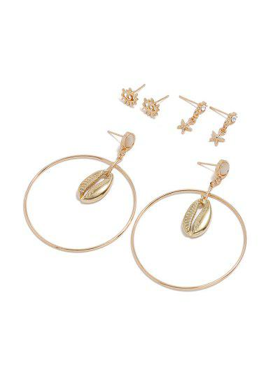 3Pairs Eye Starfish Shell Circle Earrings Set - Gold