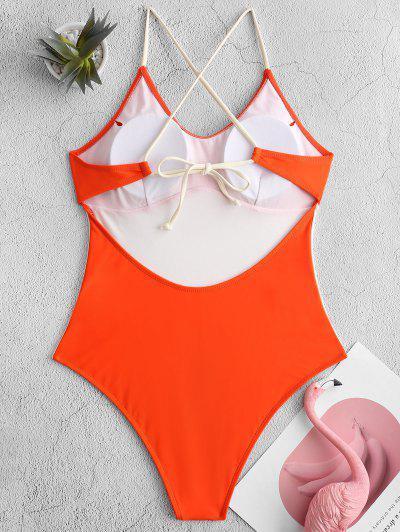ZAFUL Two Tone Crisscross One-piece Swimsuit, Orange