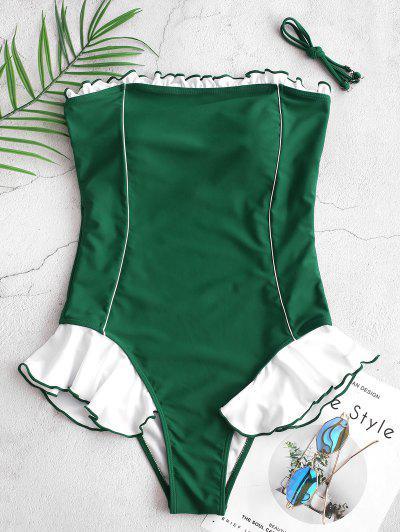 ZAFUL Contrast Ruffle Piping Bandeau One-piece Swimsuit - Medium Sea Green M