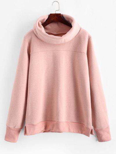 Side Slit Turtleneck Solid Sweatshirt - Pink M