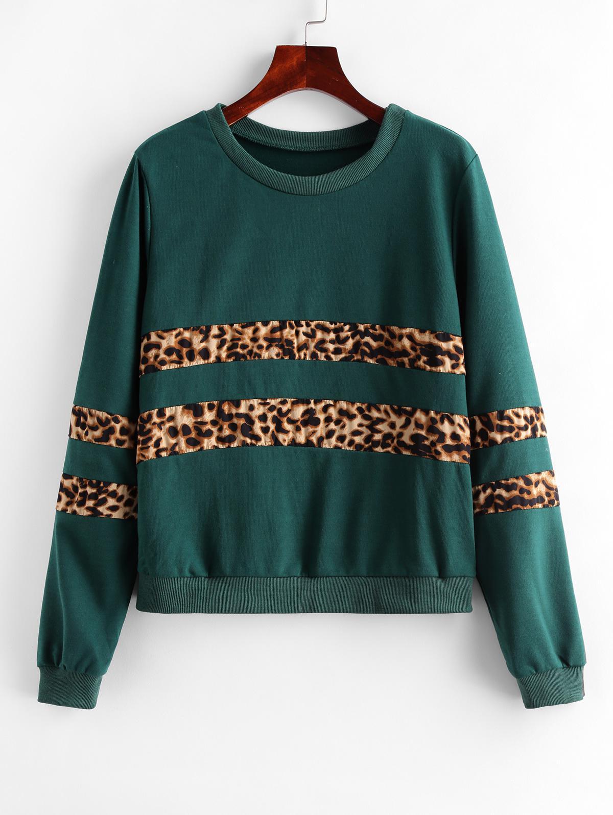 Leopard Panel Animal Print Ribbed Hem Sweatshirt
