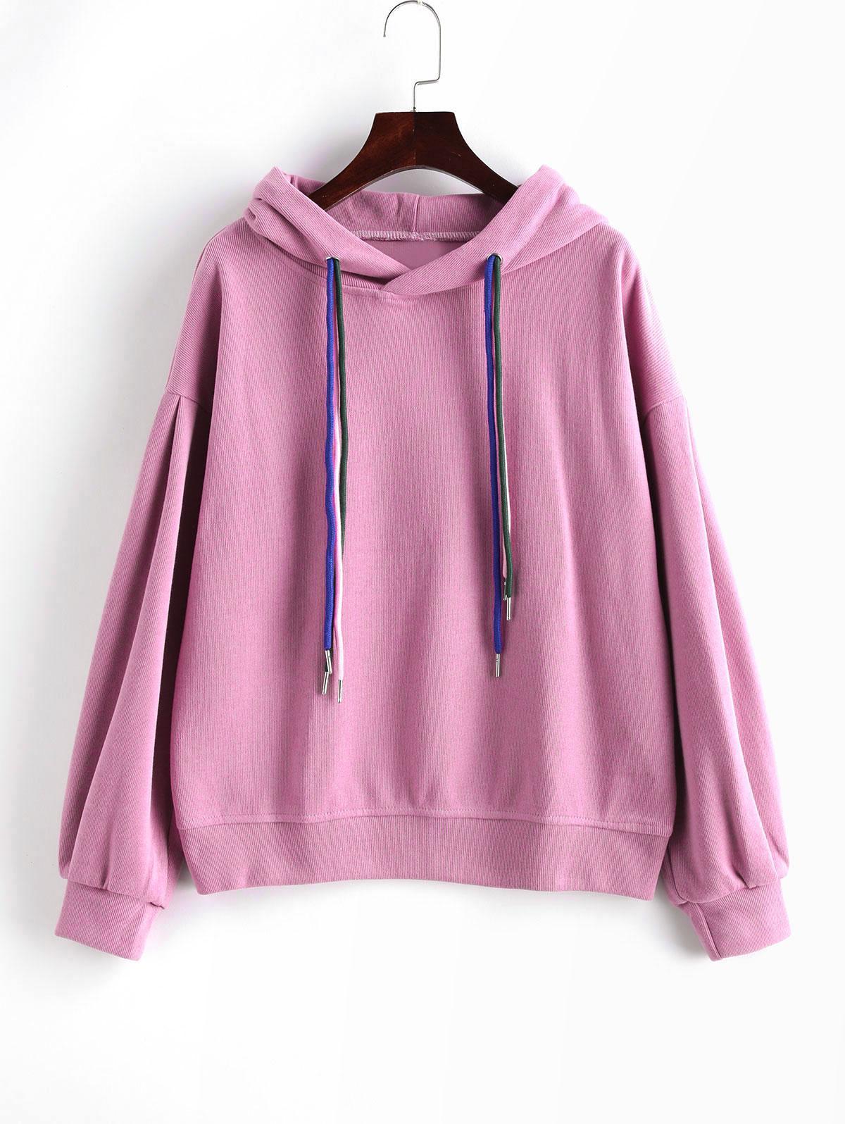 Drop Shoulder Drawstring Knit Pullover Hoodie