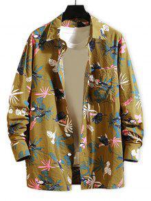 Tropical Plant Parrot Print Long Sleeve Beach Shirt