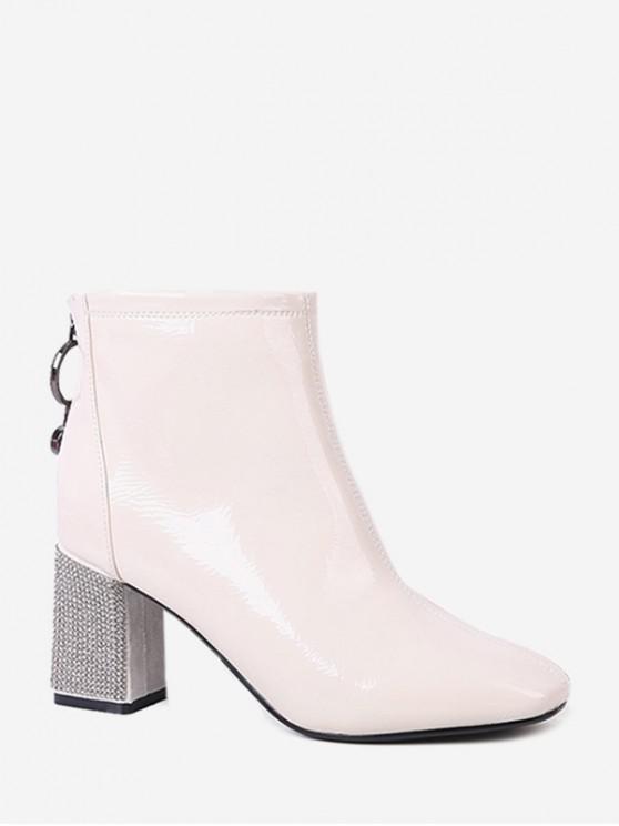 women Square Toe Rhinestone Heel Ankle Boots - BEIGE EU 36