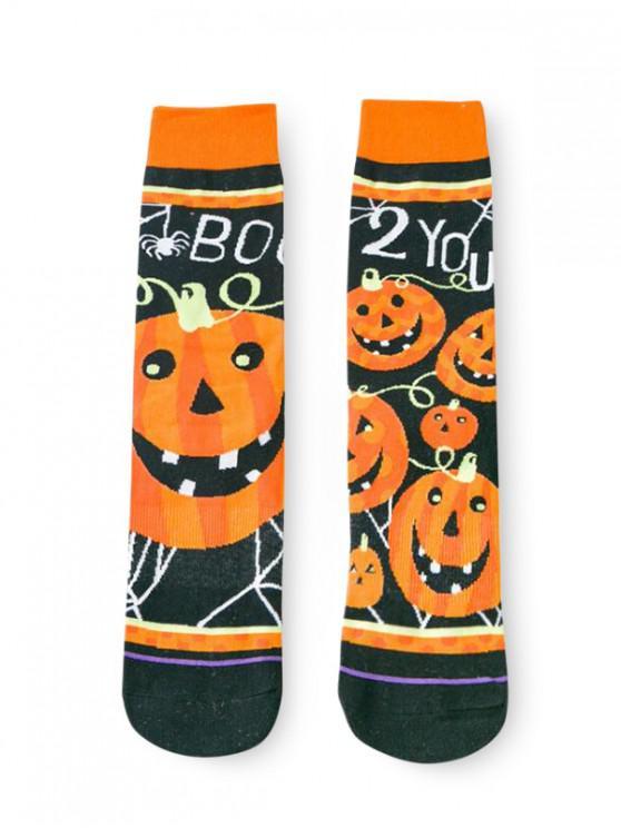 Chaussettes d'Halloween Asymétriques Citrouille - Orange