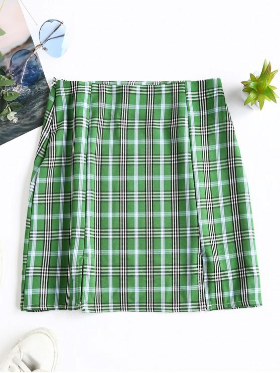 outfits Slits Plaid Mini A Line Skirt - MULTI-B L