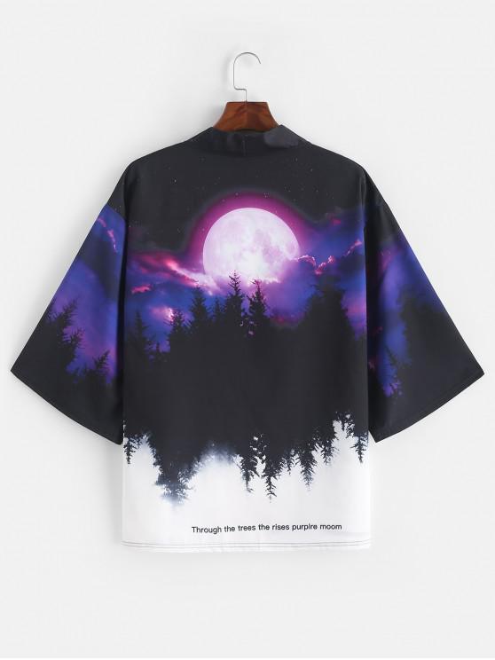 latest Rising Moon Through Tree Forest Print Open Front Kimono Cardigan - PURPLE IRIS M