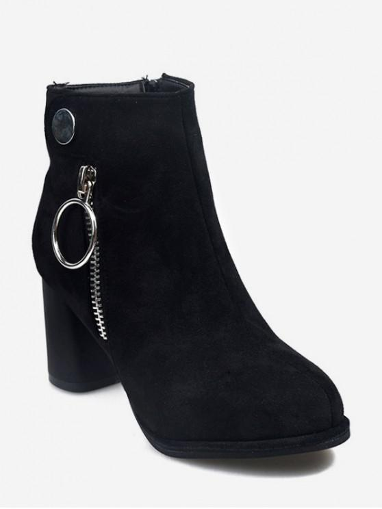 fashion O-ring Zip Suede Chunky Heel Ankle Boots - BLACK EU 36