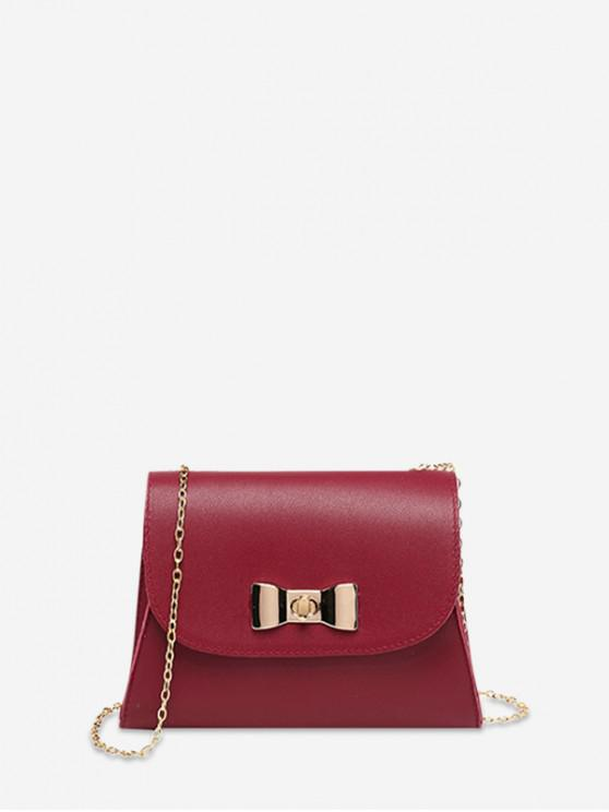 ladies Small Bow Lock Chain Square Cover Bag - LAVA RED