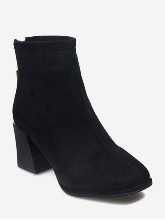 outfits Plain Square Toe Suede Ankle Boots - BLACK EU 38