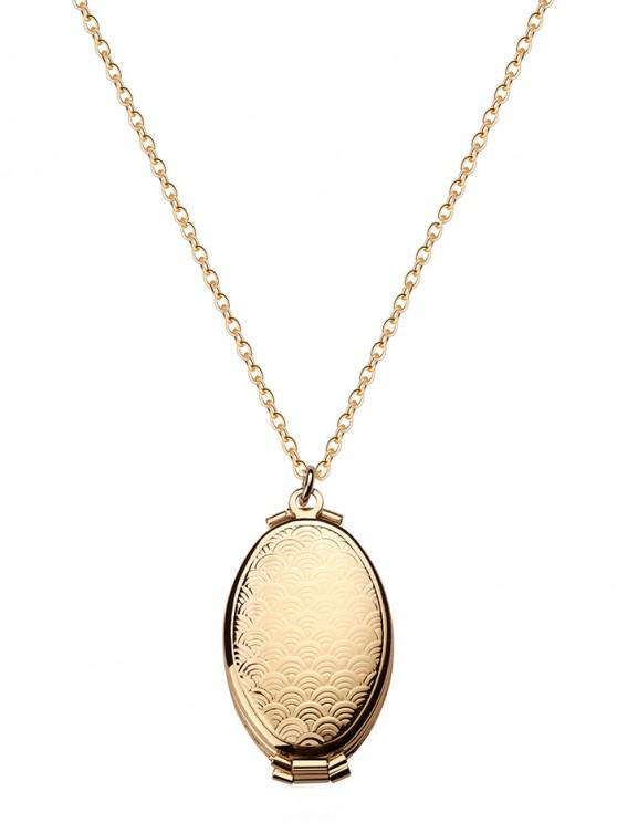 hot Engraved Floral Oval Photo Locket Necklace - GOLD WAVES