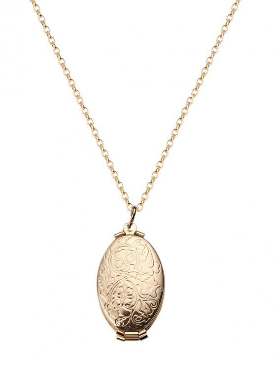 outfits Engraved Floral Oval Photo Locket Necklace - GOLD LEAVES