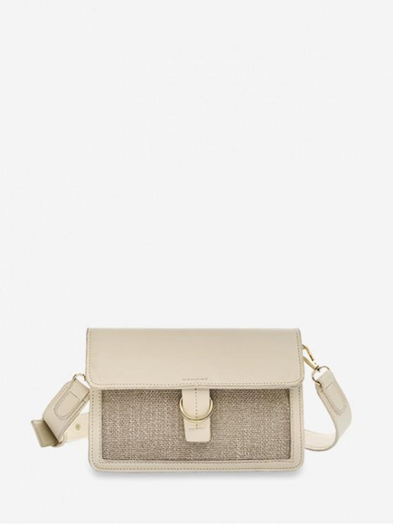 shops Rectangle Color Block Cross Body Bag - BEIGE