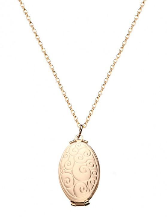 unique Engraved Floral Oval Photo Locket Necklace - GOLD CLOUDS
