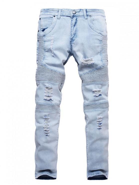 women's Drape Ripped Design Zip Fly Jeans - JEANS BLUE 38