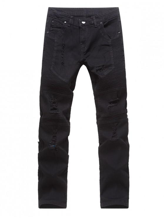 online Solid Color Drape Ripped Decoration Jeans - BLACK 38