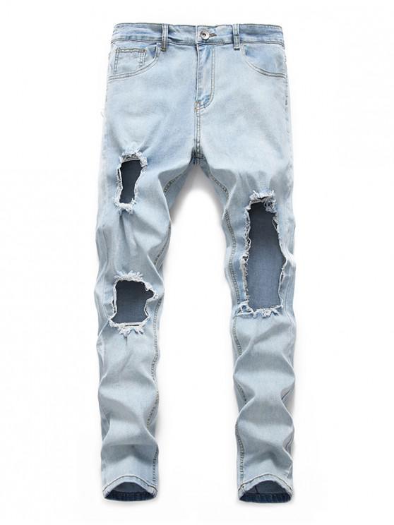 hot Big Hole Design Casual Jeans - JEANS BLUE M