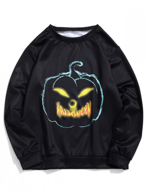 fancy Halloween Pumpkin Print Pullover Sweatshirt - BLACK XL
