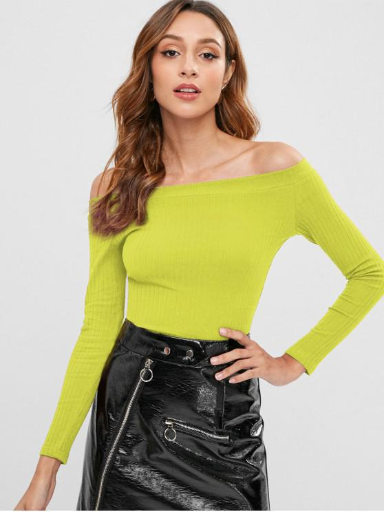outfit Knitted Off Shoulder Crop Tee - TEA GREEN M