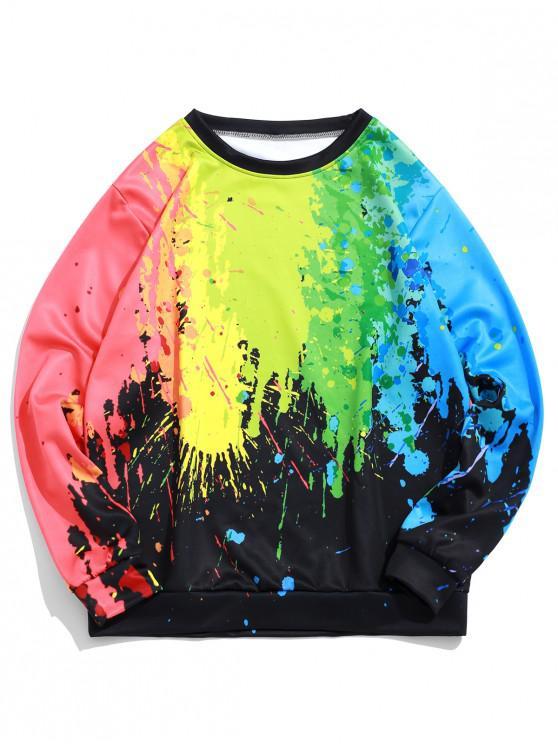 women's Colorful Painting Splatter Print Pullover Casual Sweatshirt - BLACK XL