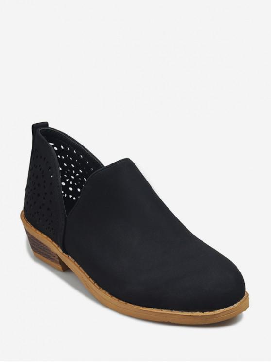 รองเท้าบูทหุ้มข้อ V Cut Hollow Out - สีดำ EU 41