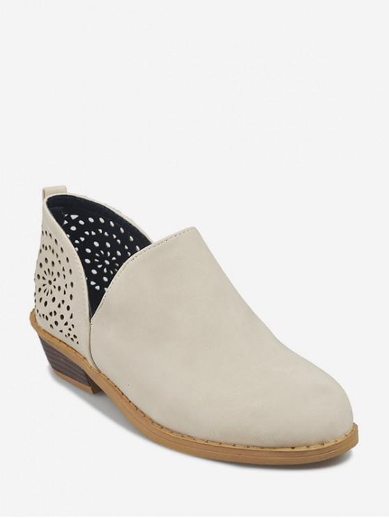 รองเท้าบูทหุ้มข้อ V Cut Hollow Out - สีขาวอบอุ่น EU 44