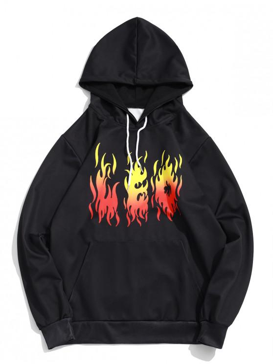 affordable Flame Print Kangaroo Pocket Pullover Hoodie - BLACK XL