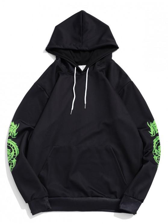 buy Dragon Pattern Print Pullover Kangaroo Pocket Hoodie - BLACK XL