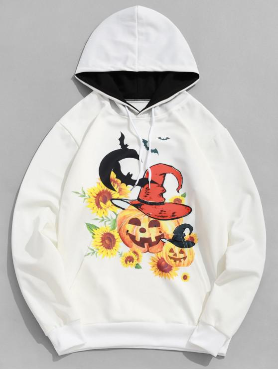 shop Halloween Pumpkin Witch Bat Sunflower Print Kangaroo Pocket Hoodie - WHITE XL