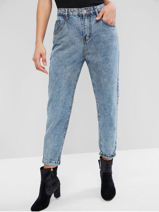 best ZAFUL High Waisted Mom Jeans - DENIM BLUE M