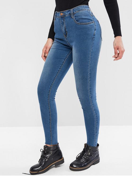 fancy High Waisted Bleach Wash Raw Hem Skinny Jeans - DENIM BLUE L