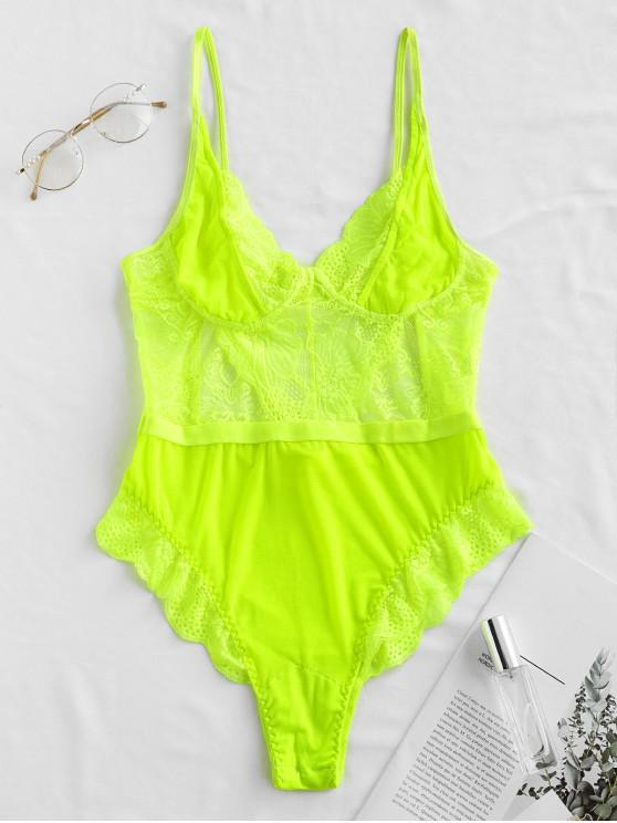 best Lace High Waisted Mesh Scalloped Teddy - GREEN YELLOW S